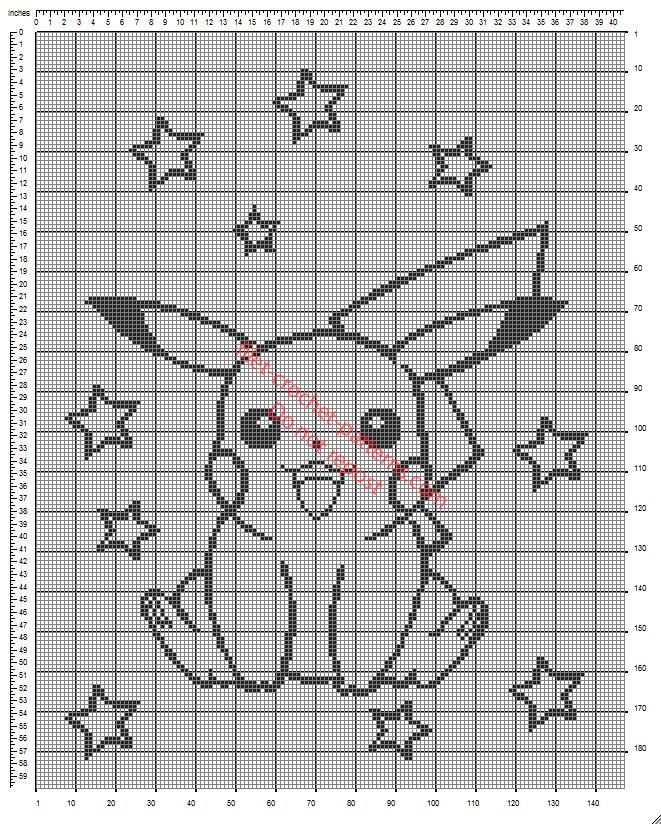 Crib blanket with Pokemon Pikachu free crochet filet pattern diagram