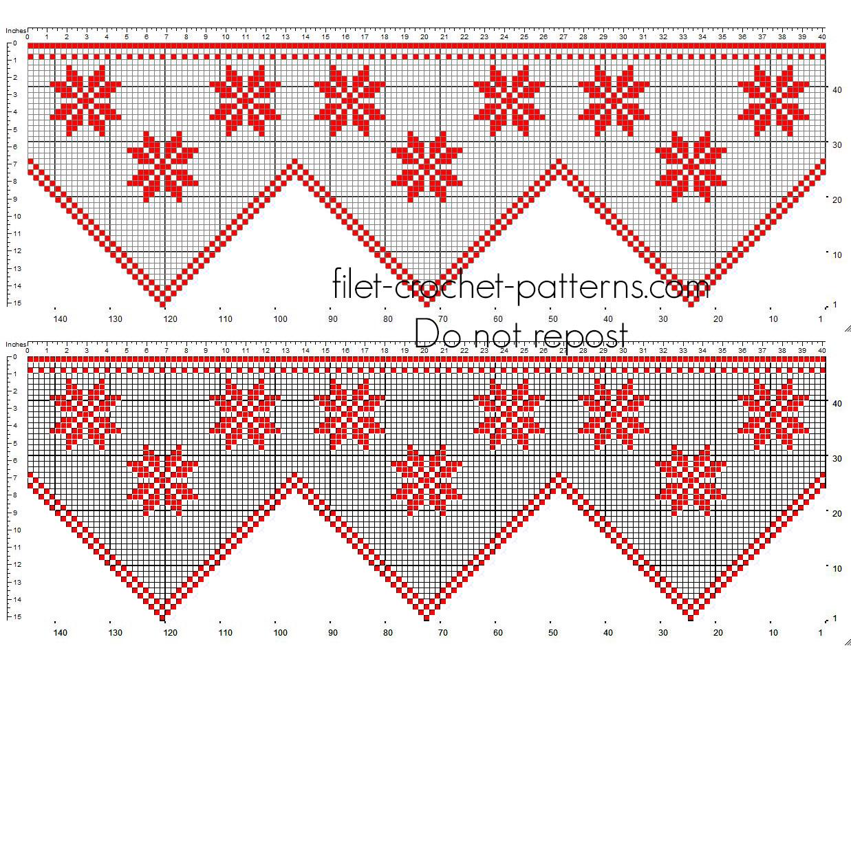 Crochet filet Christmas red border with Poinsettia Christmas Stars flowers