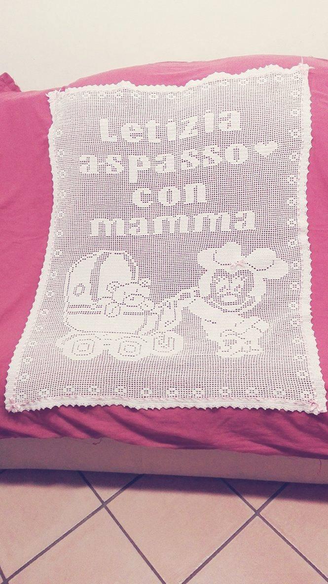 Crochet filet baby blanket Minnie pram Facebook Fan Silvana Balistreri