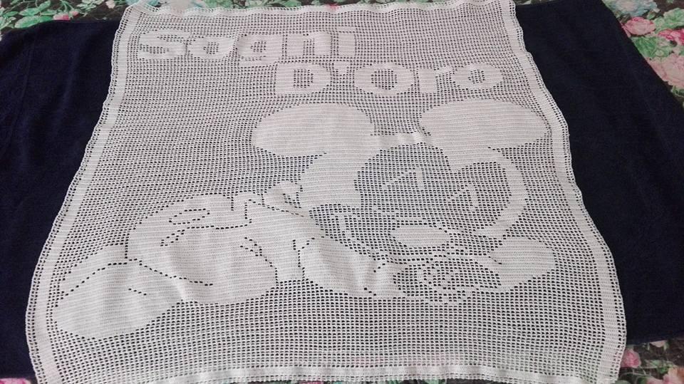 Crochet filet baby blanket Sweet Dreams Mickey Facebook Fan Gabriella Montebruno (2)