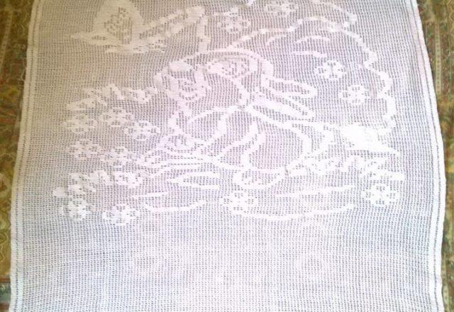 Crochet filet baby blanket with Bambi Thumper author Facebook Fan Semplicemente MT