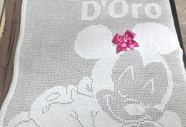 Crochet filet baby blanket with Disney Minnie author Facebook Fan Brenda De Luca