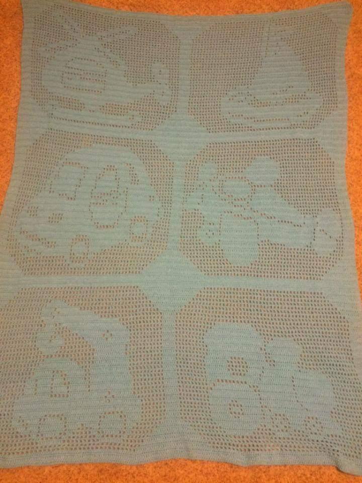 Crochet filet baby blanket with transport photo by Facebook Fan Dee Greusel