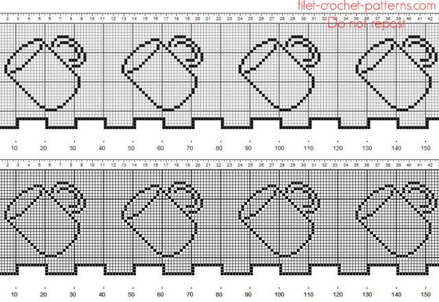 Crochet filet border with mugs kitchen vurtains idea