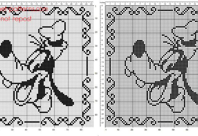Crochet filet children pillow with Disney Goofy 90 squares free pattern download