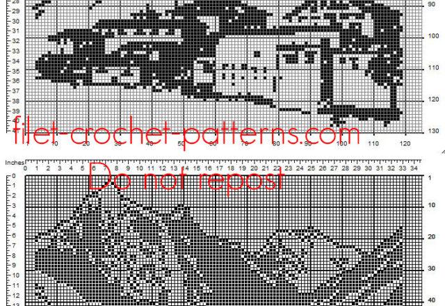 Crochet filet mountain landscape home painting idea