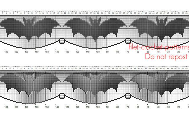 Crochet filet pattern Halloween border with bats