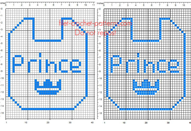 Crochet filet pattern baby bib with text Prince free download