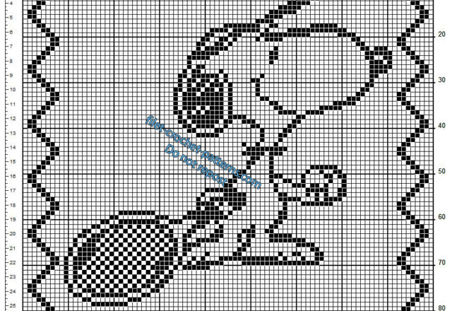 Crochet filet pattern children pillow with Snoopy and a tennis racket
