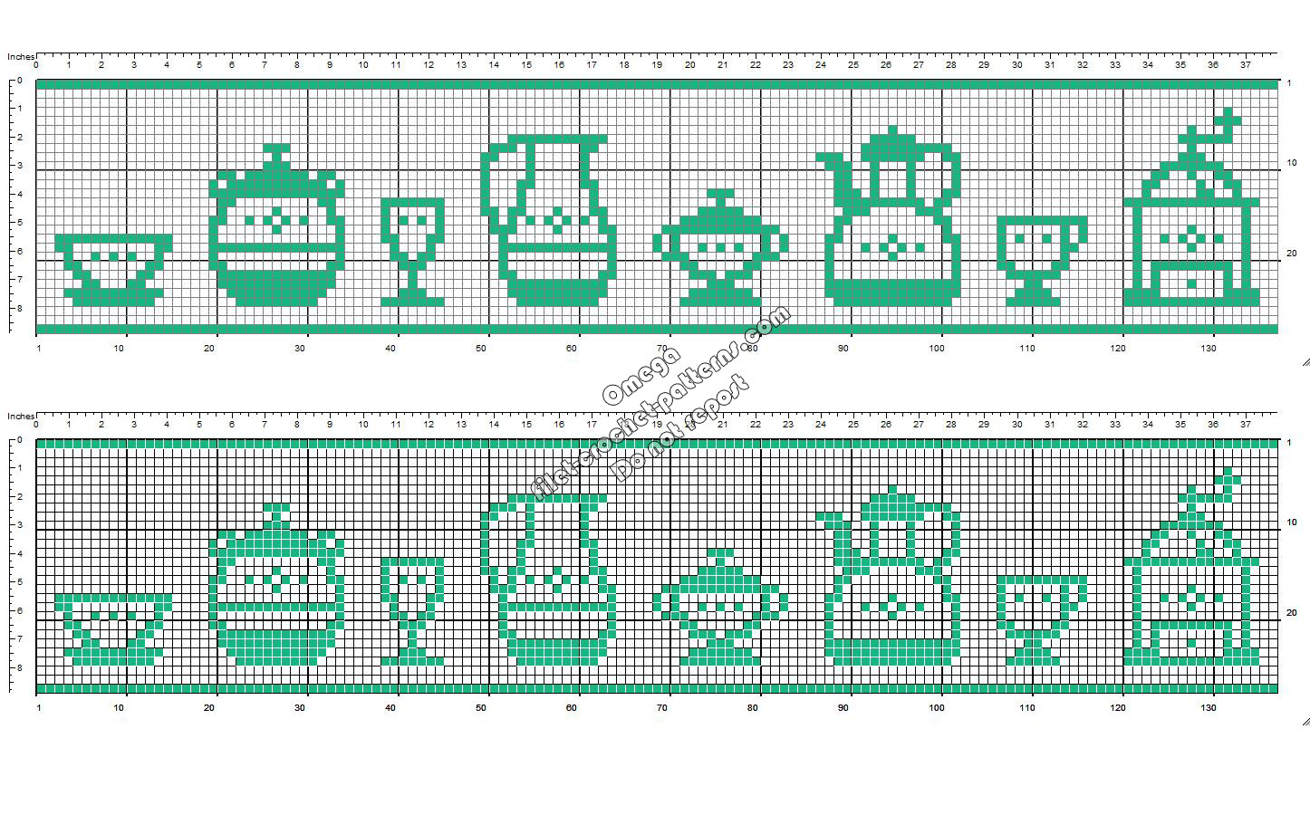 Crochet filet pattern design border for table cloths with porcelain objects height 28