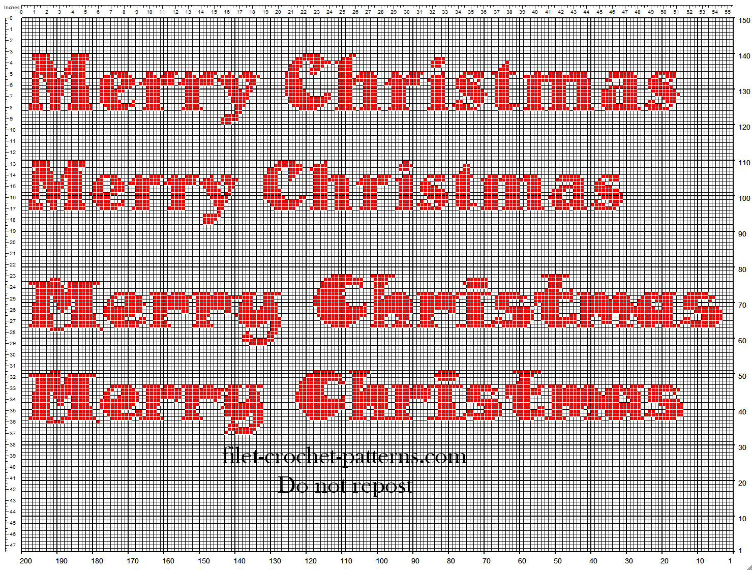 Crochet filet pattern orizontal Merry Christmas text ideal for Christmas door hangings