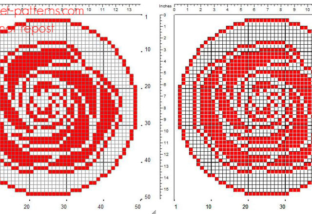 Crochet filet pattern round doily with red rose size 50 x 50 squares