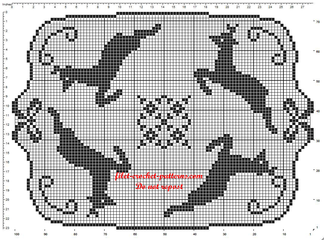 Crochet filet rectangular Christmas doily pattern with reindeers