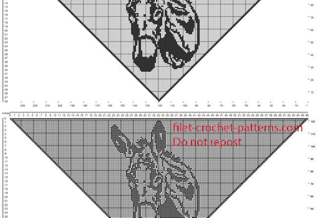 Crochet filet shawl with donkey head free pattern download