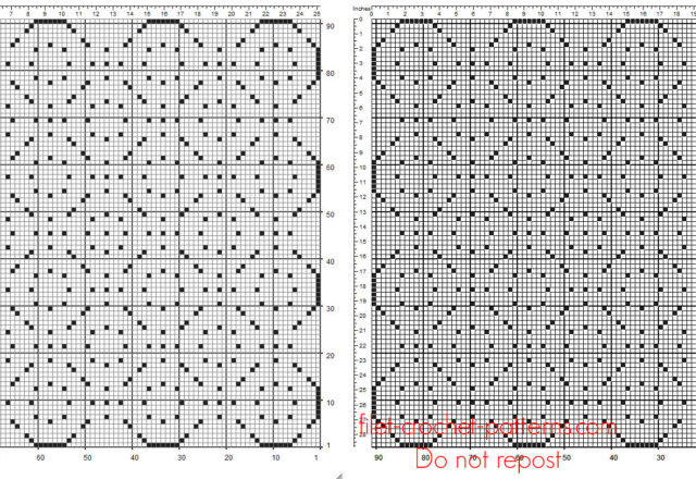 Crochet filet square doily 91 x 91 free geometric pattern
