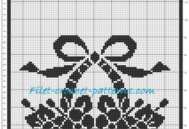 Curtain basket of flowers patterns filet crochet