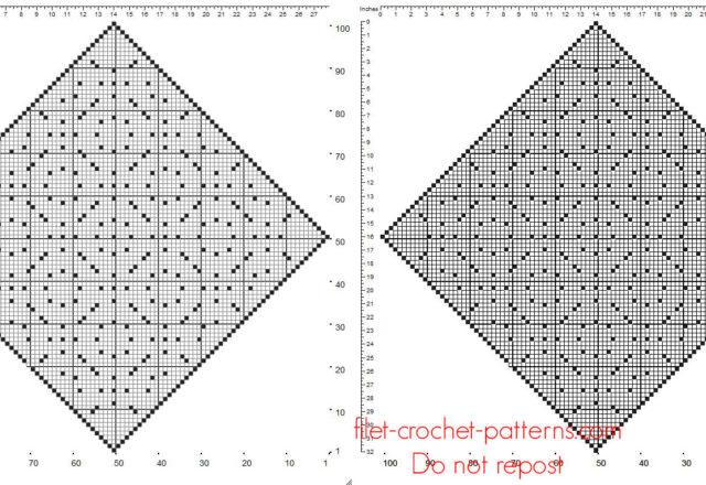 Diamond shape free crochet filet doily pattern