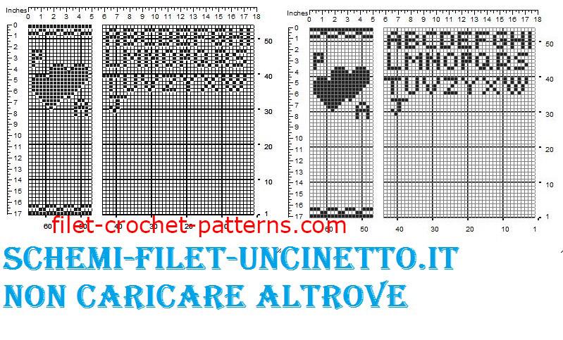 Double hearts favor bag wedding free filet crochet pattern (2)