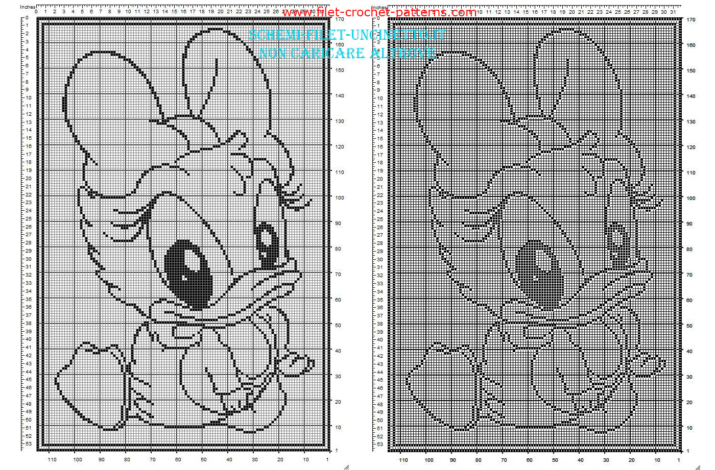 Filet baby blanket with Disney baby Daisy Duck free pattern download