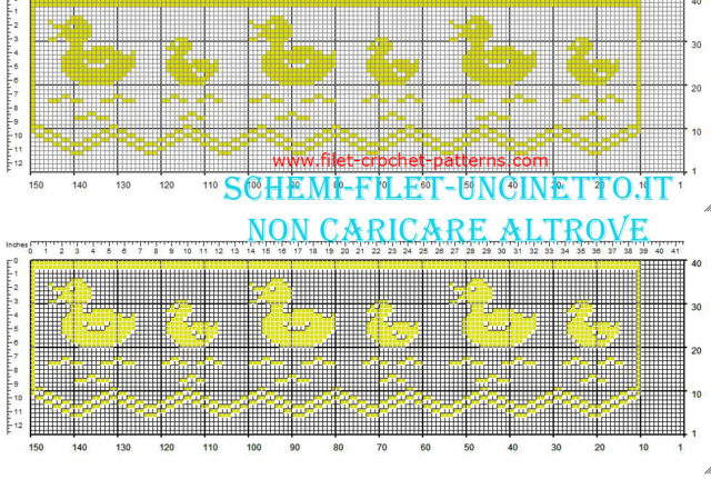 Filet border with ducks free pattern download width 36 squares yellow color