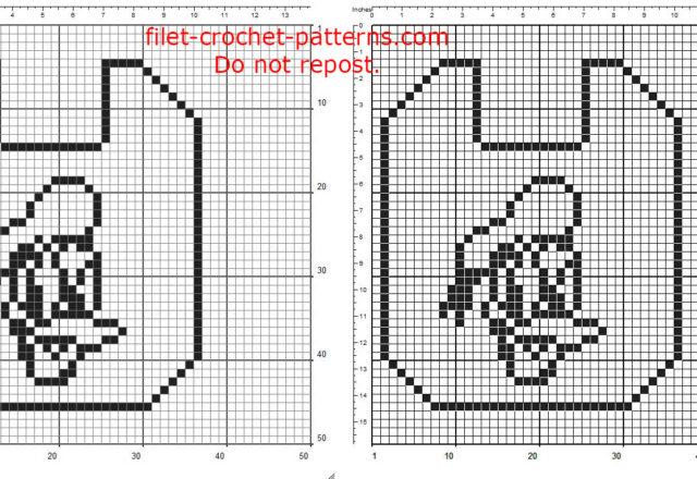 Filet crochet baby bib with Disney Donald Duck free pattern download