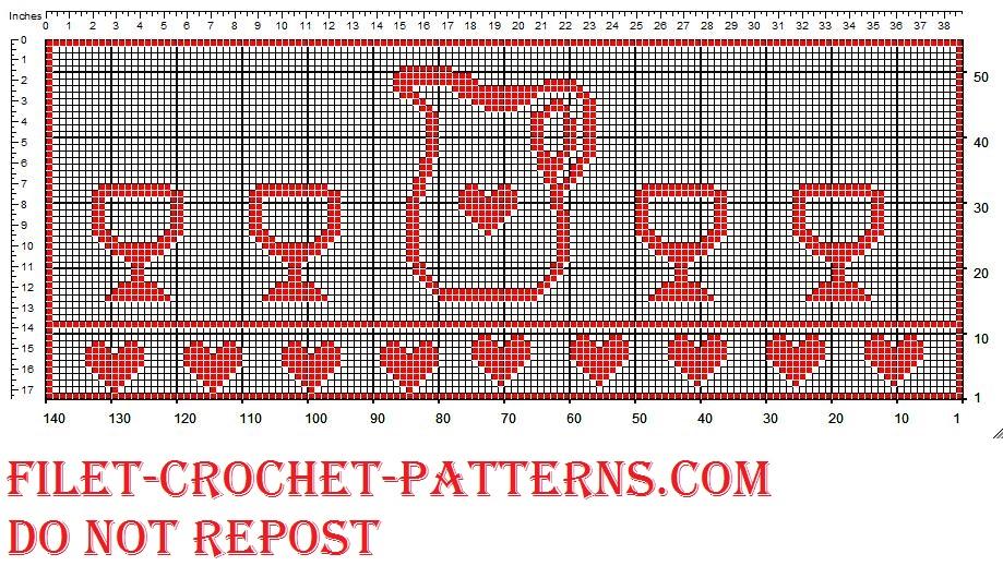 Filet crochet border jug and glasses