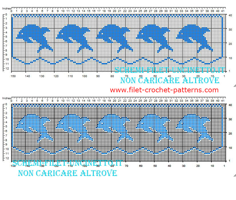 Filet crochet border pattern with small blue dolphins width 35 squares