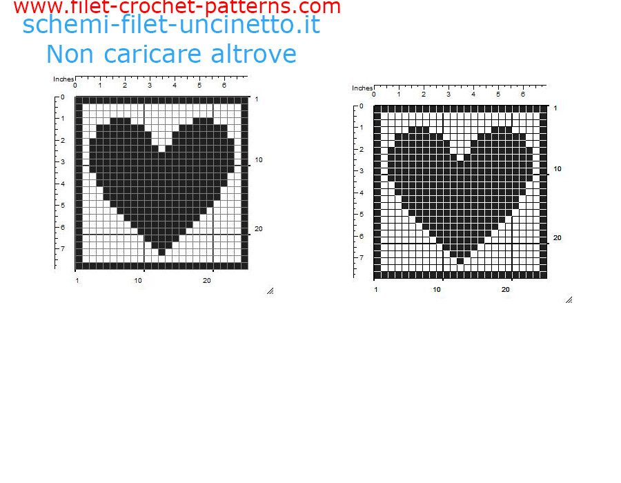 Filet crochet coaster with heart free pattern download 25 squares