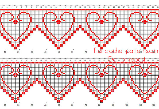 Filet crochet pattern border with small vintage hearts red color free download