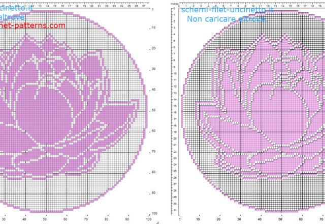 Filet crochet pattern round doily with Lotus flower diameter 100 squares