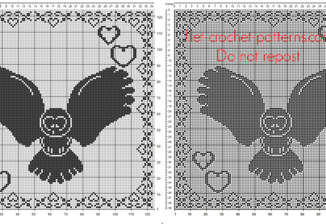 Filet crochet pattern square doily with owl and border with hearts 124 squares