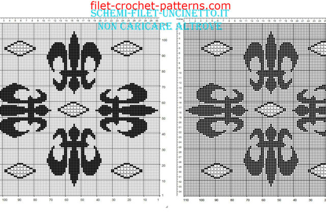 Filet crochet pillow with lilies flowers medieval 110 squares