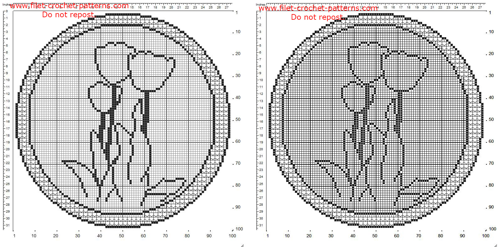 Filet crochet rounded doily with border and tulips flowers free pattern 100 squares
