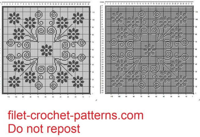 Filet crochet square doily with small flowers