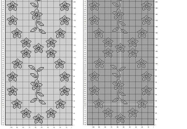 Filet crochet table runner with flowers free pattern