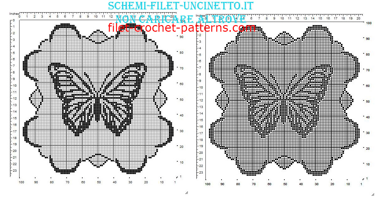 Filet doily with butterfly and clouds border free pattern 100 squares