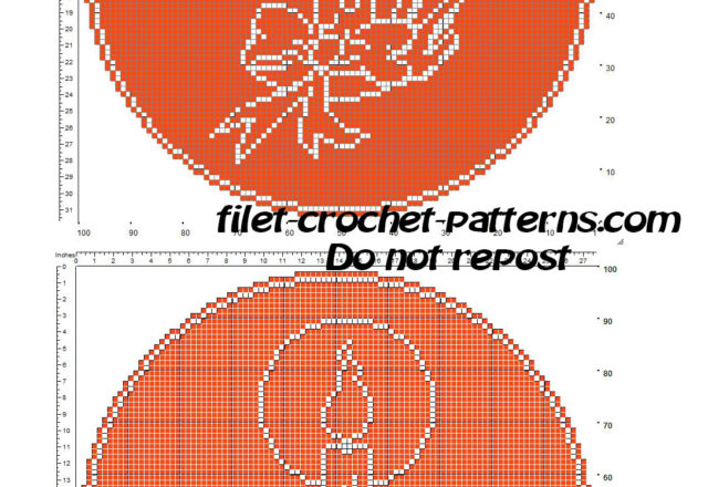 Free Christmas crochet filet pattern round red doily with Christmas candle
