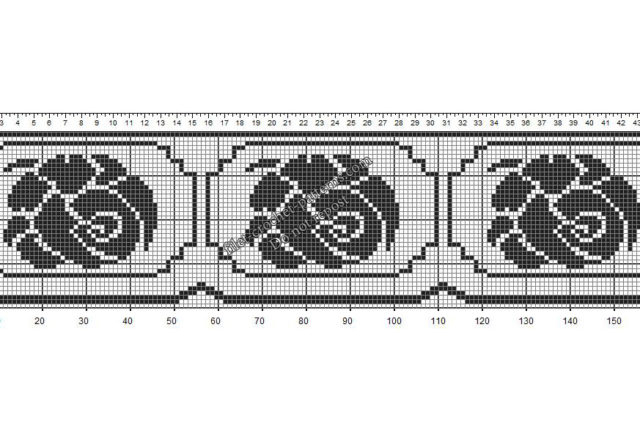 Free crochet filet border pattern with roses
