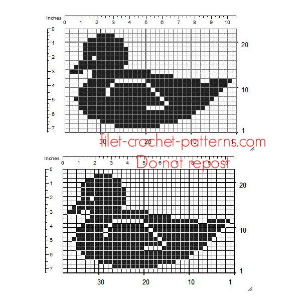 Free crochet filet insert design baby duck size 36 x 21 squares