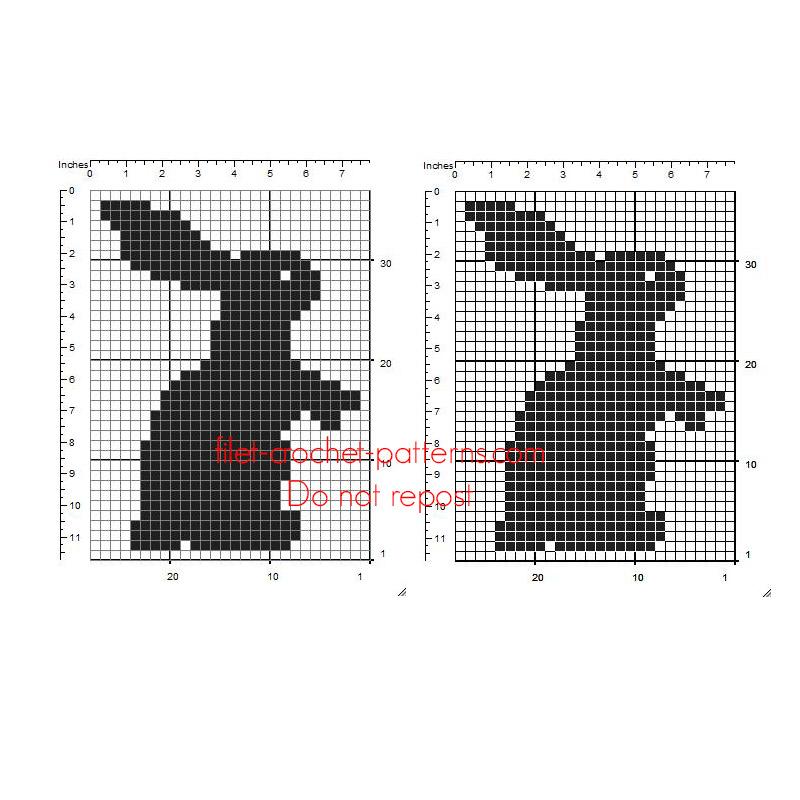 Free crochet filet insert design pattern baby bunny 26 x 34 squares
