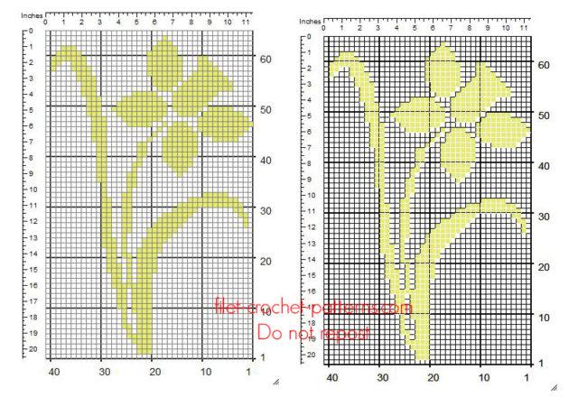 Free crochet filet insert pattern yellow Daffodil flower 39 x 63 squares