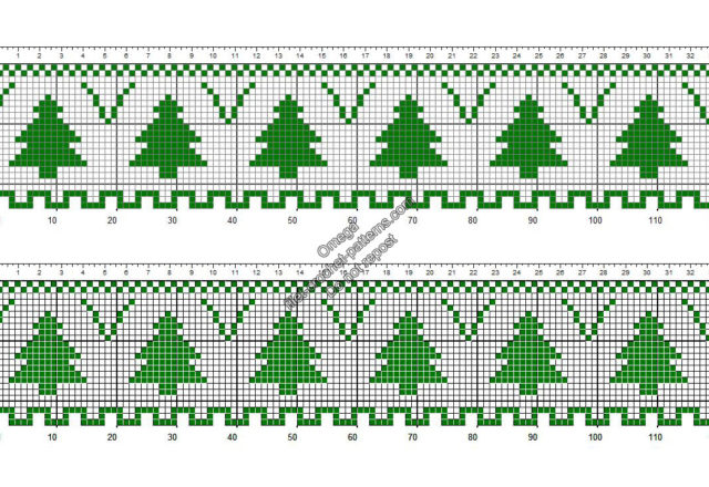 Free crochet filet pattern Christmas trees border height 24 squares