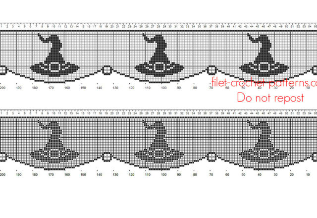 Free crochet filet pattern Halloween border with witch hat