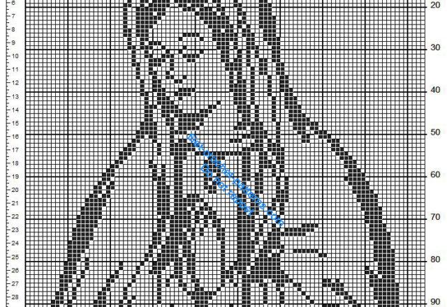 Free crochet filet pattern Virgin Mary 84 x 99 squares