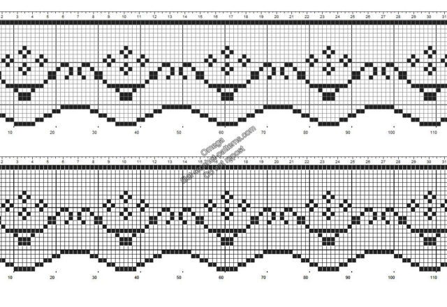 Free crochet filet pattern border with pots of flowers height 25 squares