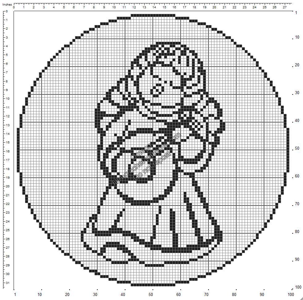 Free crochet filet pattern round doily with Thun Angel 100x100