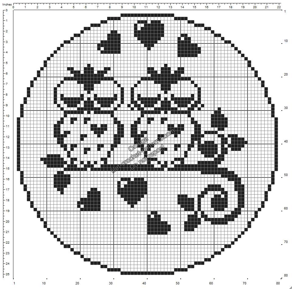 Free crochet filet pattern round doily with owls in love 80 squares diameter