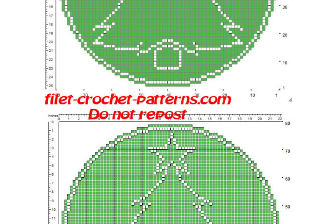 Free crochet filet pattern round green small doily with Christmas tree