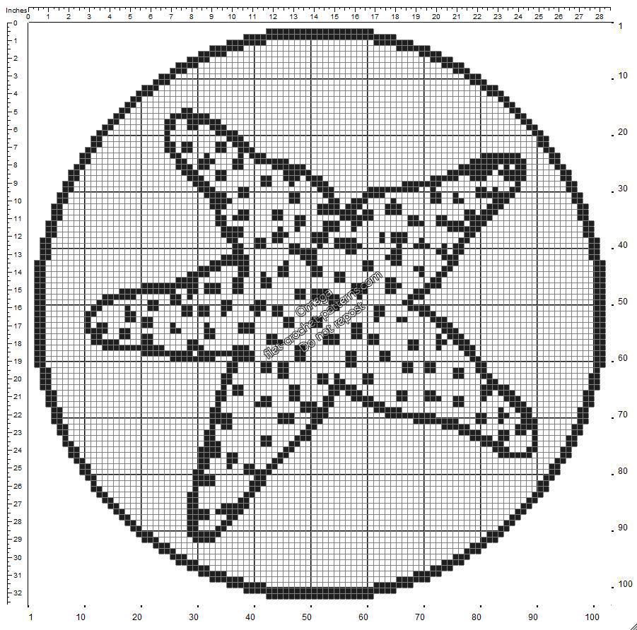 Free crochet filet pattern round shape doily with starfish