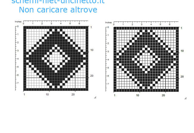 Free filet crochet coaster diamond rhombus shaped free download 25 squares